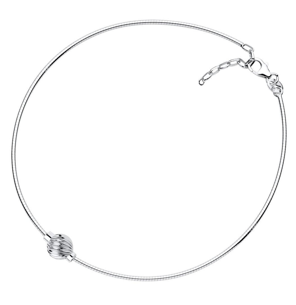 SS Cape Cod anklet - Swirl ball on Snake chain