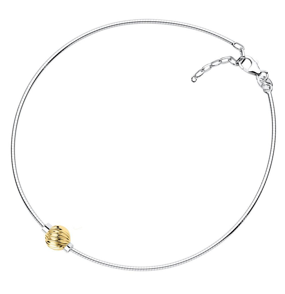 SS/14K yellow gold Cape Cod anklet - Swirl ball on Omega chain