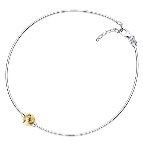 LeStage sterling silver and 14K Cape Cod anklet - Swirl ball on Snake chain