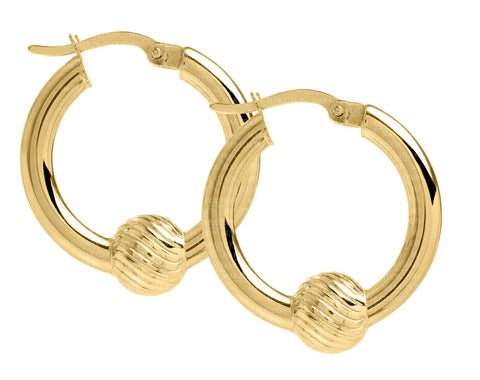 Cape Cod 14K swirl ball 20mm hoop earrings
