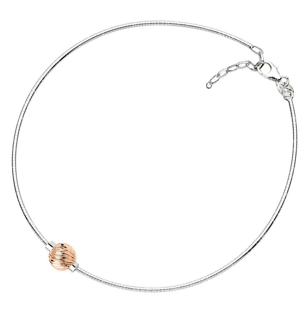 SS/14K rose gold Cape Cod anklet - Swirl ball on snake chain