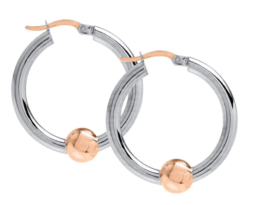 Cape Cod SS-14K rose gold 26mm hoop earrings