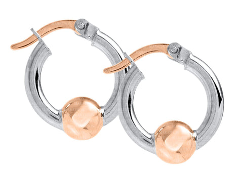 Cape Cod SS-14K rose gold 15mm hoop earrings