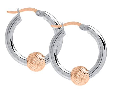 Cape Cod SS-14K rose gold swirl ball 20mm hoop earrings