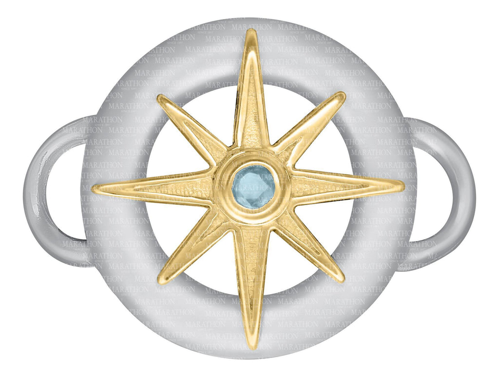 SS Ring with 14K star and stone clasp