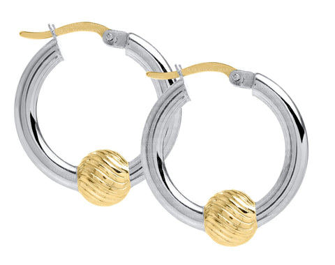 Cape Cod SS-14K swirl ball 20mm hoop earrings