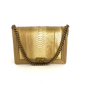 CHANEL Metallic Gold Large Boy Bag