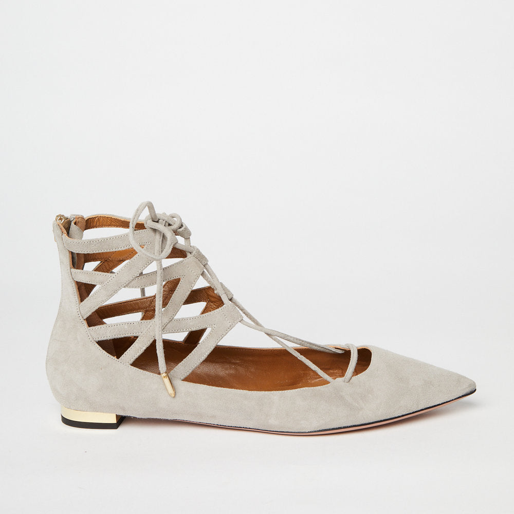 AQUAZZURA Belgravia suede point-toe flat light grey 37.5