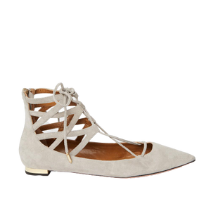 Load image into Gallery viewer, AQUAZZURA Belgravia suede point-toe flat light grey 37.5