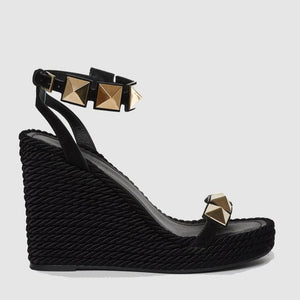 VALENTINO Leather Wedge Sandal 37