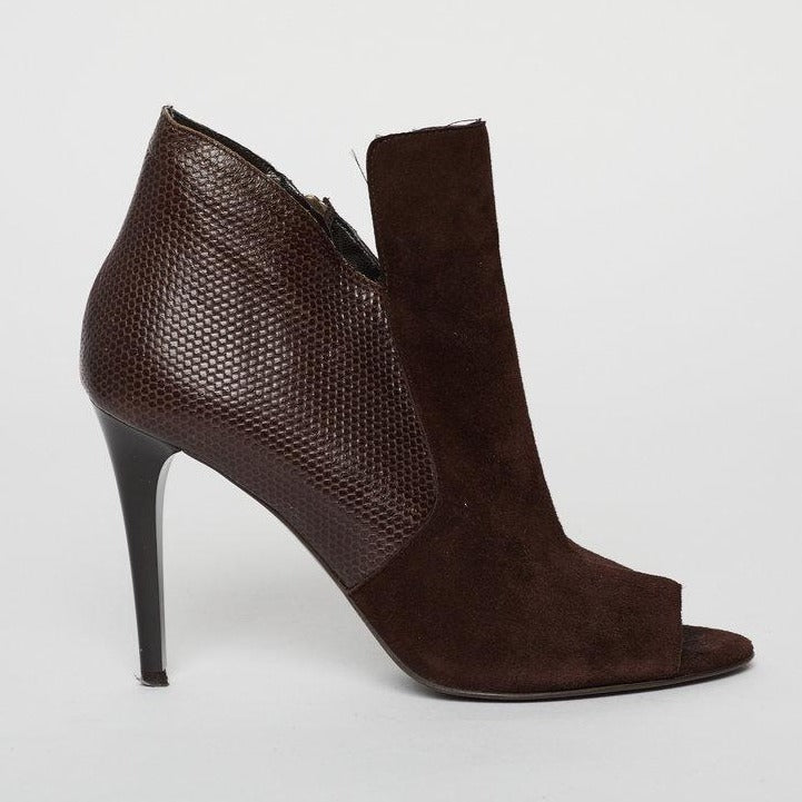 DVF Brown Suede Peep-Toe Booties 7