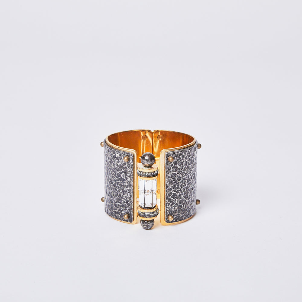 Load image into Gallery viewer, LANVIN crystal rhinestone and metal cuff