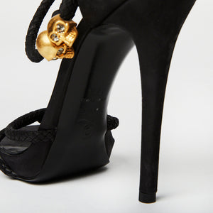 Load image into Gallery viewer, ALEXANDER MCQUEEN suede strappy heel with skull detail 37.5