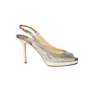 Jimmy Choo Glitter Fabric Slingback pumps sz 38