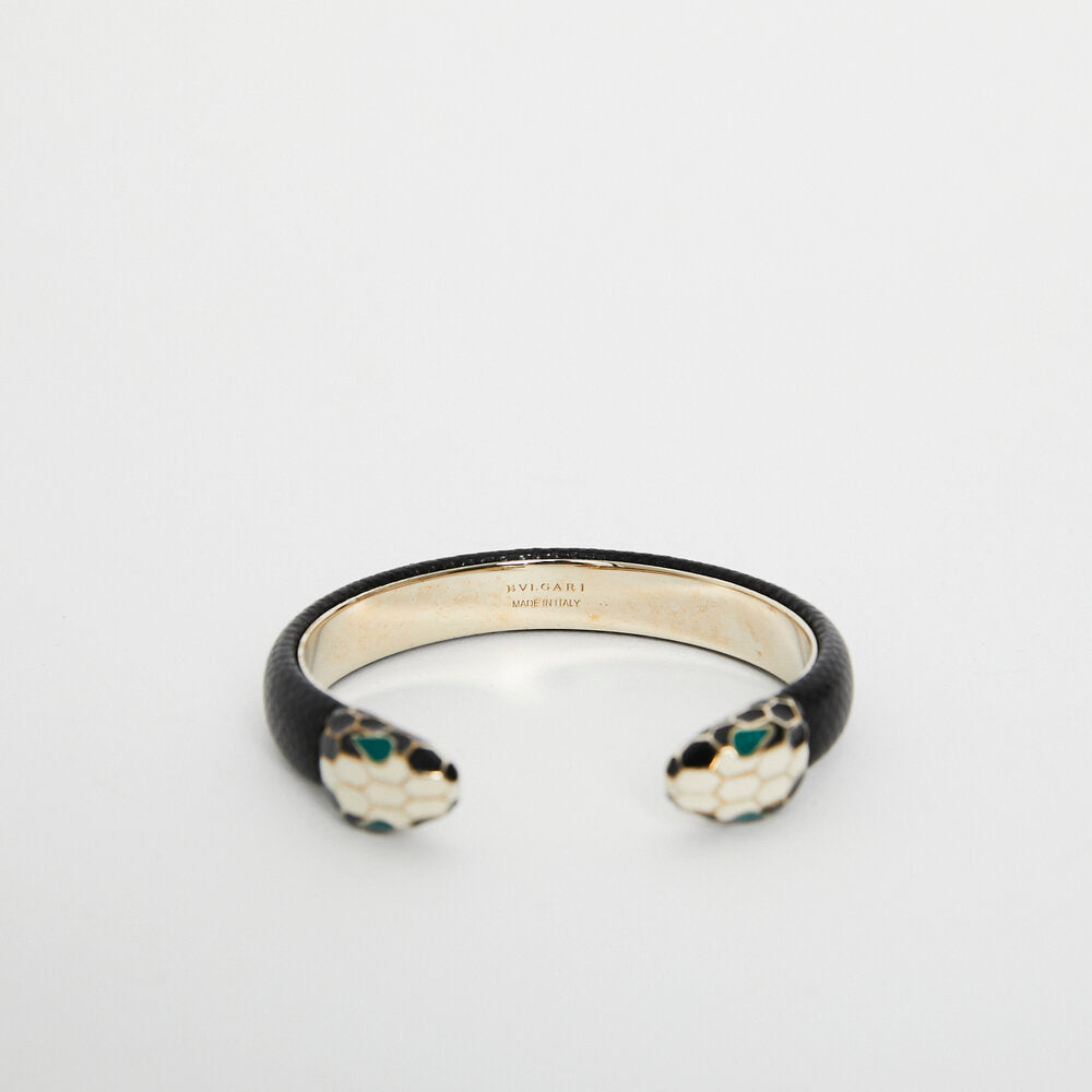 Bulgari Black Serpenti Forever Leather Open Cuff Bracelet