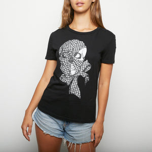 ALEXANDER MCQUEEN houndstooth skull and bow tee sz40