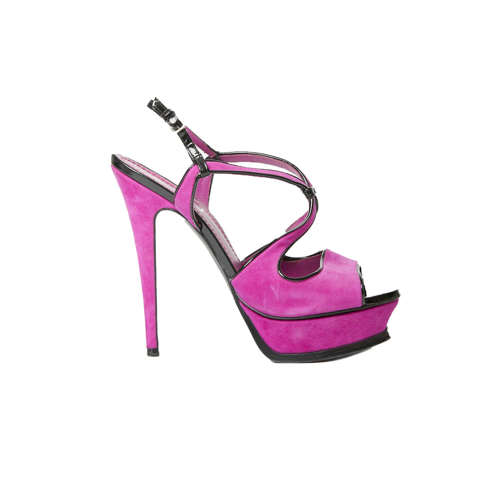 SAINT LAURENT contrast fuchsia and black suede tribute heel 37.5