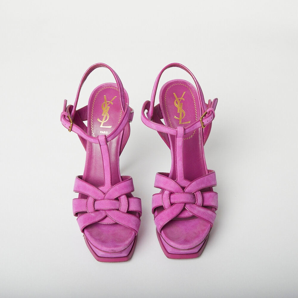 Load image into Gallery viewer, SAINT LAURENT Fuchsia Tribute Pump Sz 38