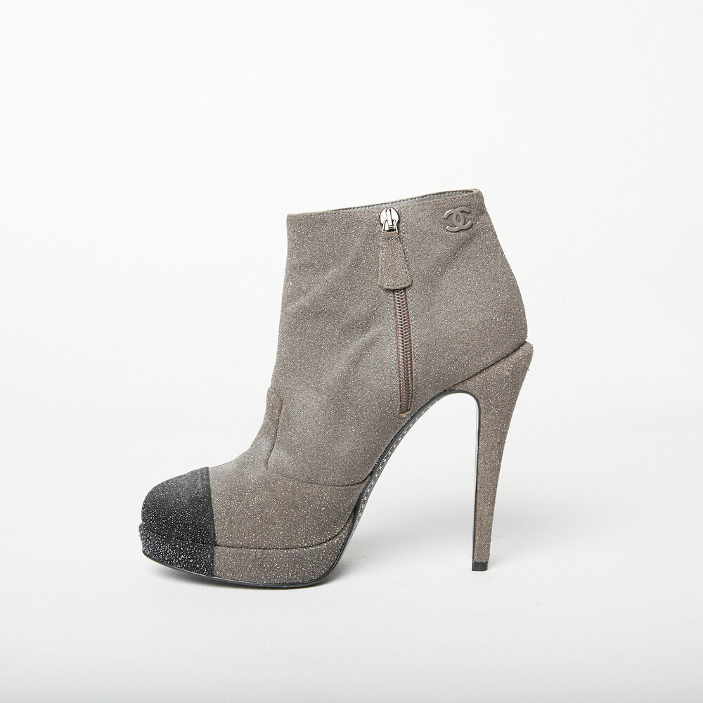 CHANEL Grey Ankle Boot 38.5