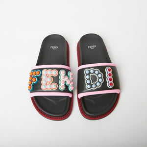 FENDI Fun Fair Logo Studded Slides