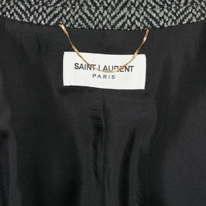 SAINT LAURENT Double Breasted Long Coat in Herringbone Wool Sz 40