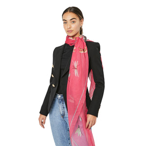 Load image into Gallery viewer, ALEXANDER MCQUEEN Pink Insect and skull Print Scarf