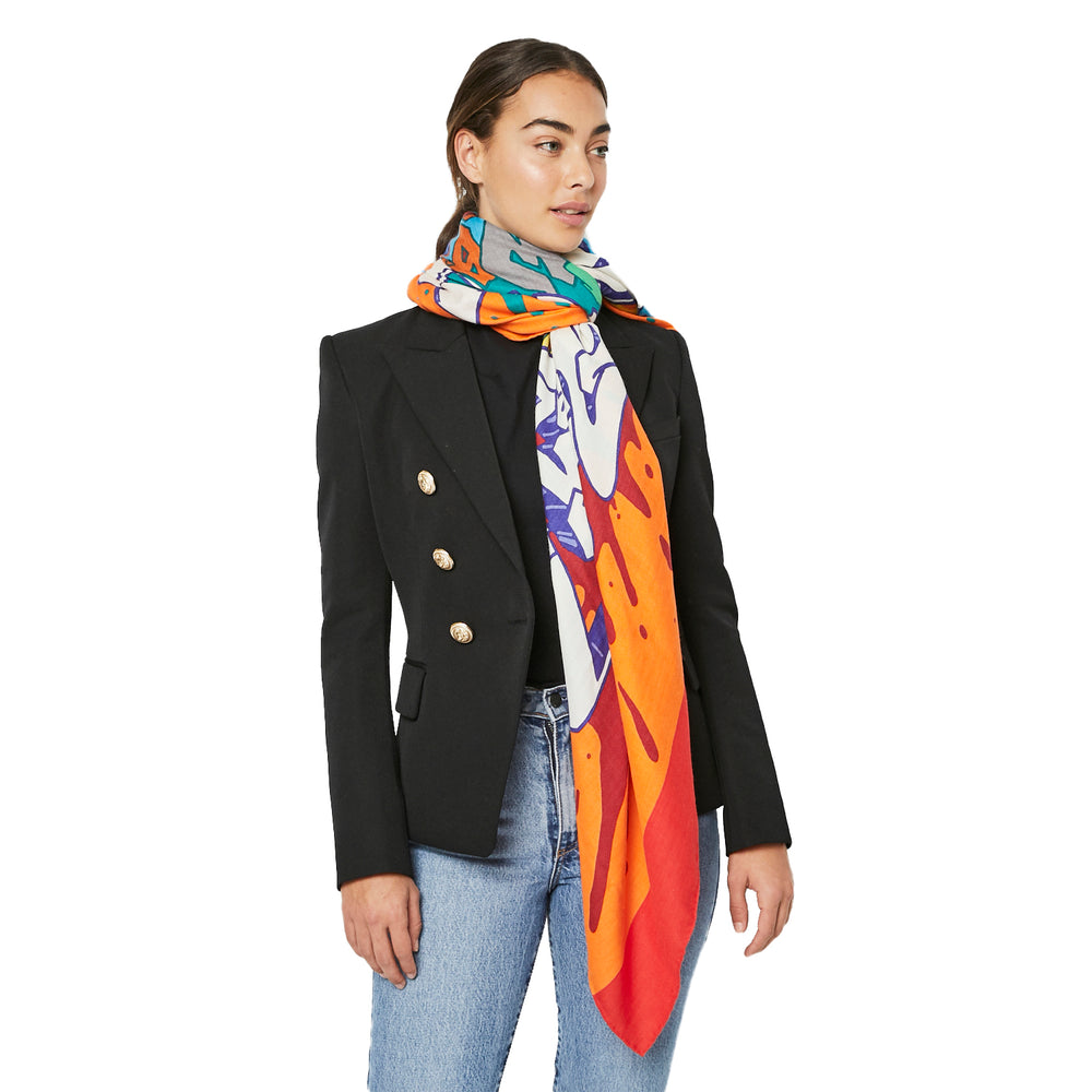 "HERMES ""Graff"" (Graffiti) Cashmere and Silk Shawl Scarf"