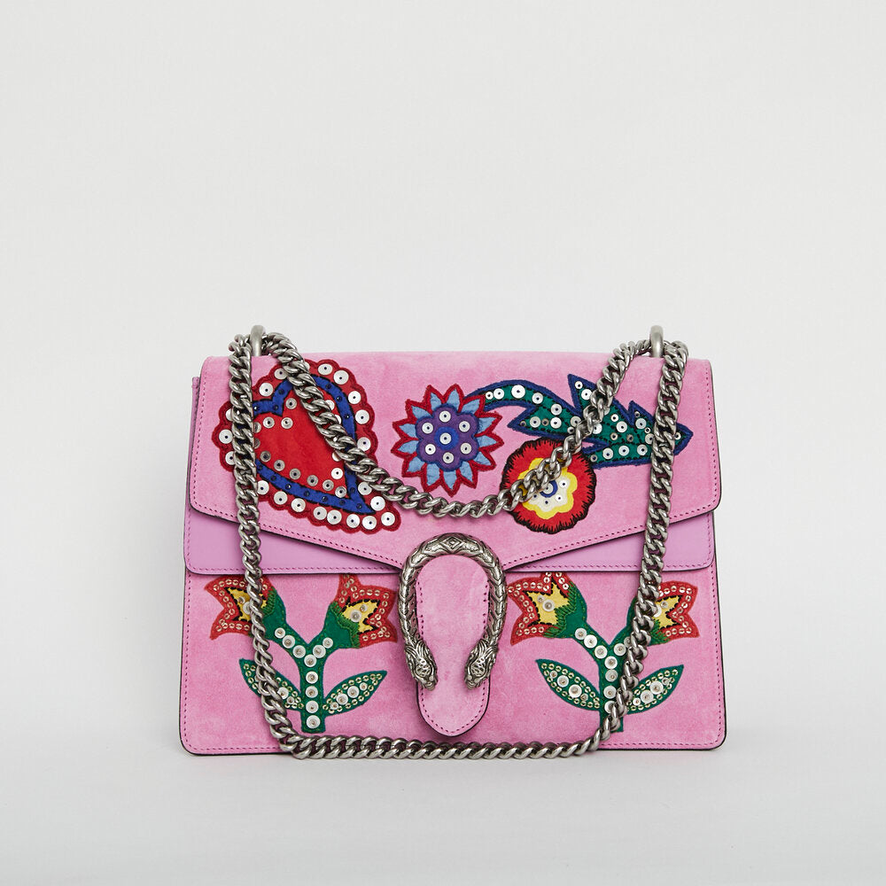 GUCCI Suede Embroidered Medium Dionysus Bag