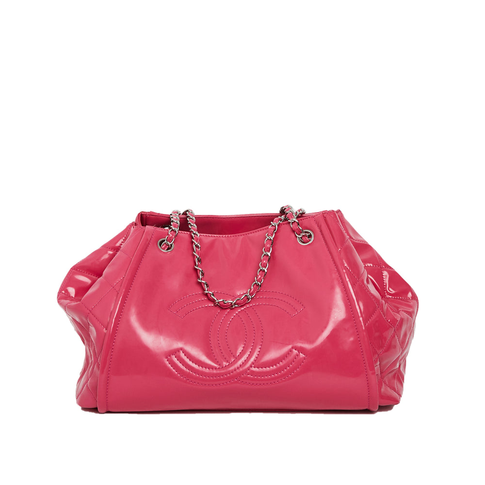 CHANEL Pink Patent Vinyl Lipstick Ligne Large Accordion Tote Bag