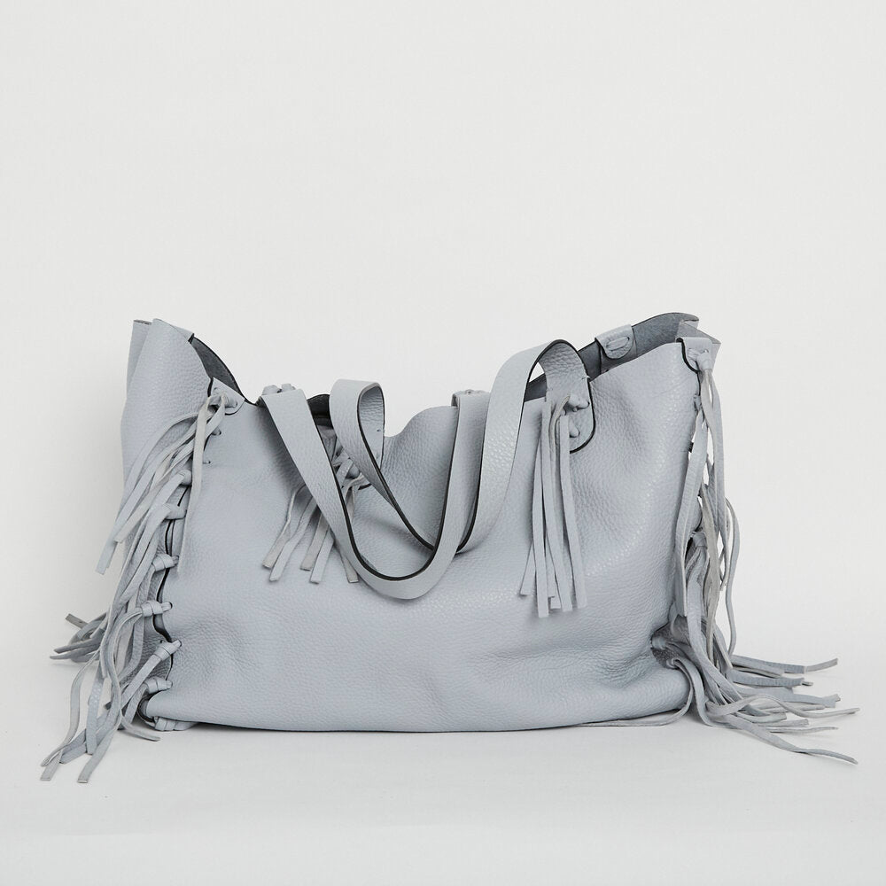 VALENTINO C-Rockee Leather Fringed Tote
