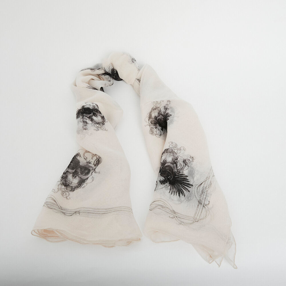 Load image into Gallery viewer, ALEXANDER MCQUEEN Light Pink Scull Print Scarf
