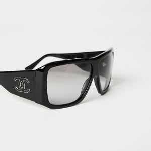 CHANEL Black CC Rectangle Sunglasses