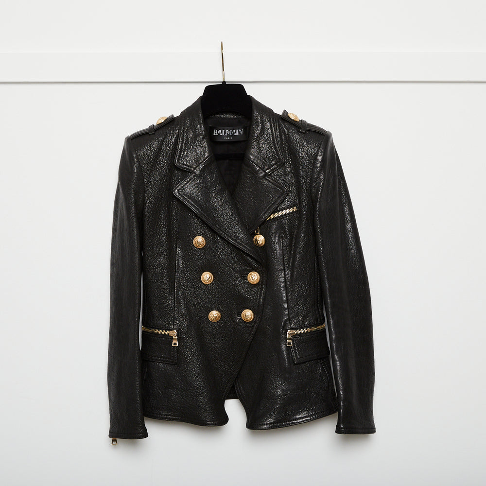 Load image into Gallery viewer, BALMAIN leather Biker Jacket Sz 40