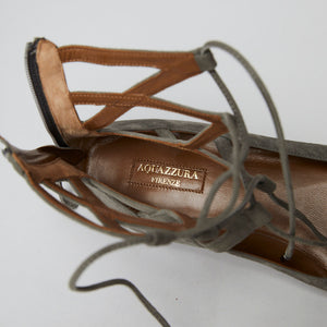 Load image into Gallery viewer, AQUAZZURA Belgravia suede point-toe flat olive 40