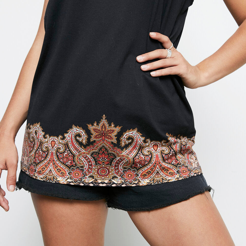 Load image into Gallery viewer, GIVENCHY paisley trim print singlet szXS