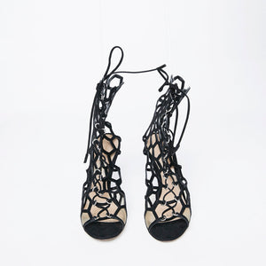 Load image into Gallery viewer, GIANVITO ROSSI honeycomb cage heel 37.5