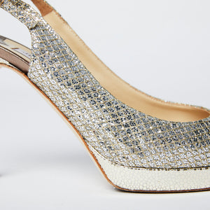Load image into Gallery viewer, Jimmy Choo Glitter Fabric Slingback pumps sz 38
