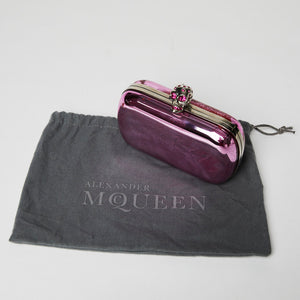 Load image into Gallery viewer, ALEXANDER MCQUEEN pink rhinestone skull hard case clutch