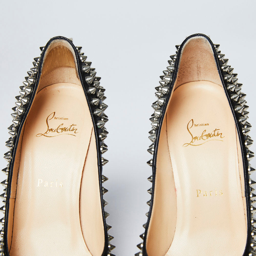 CHRISTIAN LOUBOUTIN Black Leather 100 Mm Spike Round-toe Pumps 38