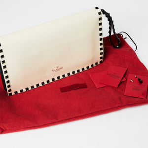 VALENTINO Medium Rockstud Cream Clutch