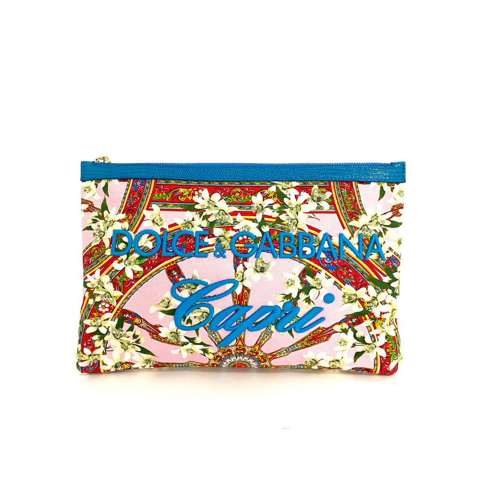 Load image into Gallery viewer, DOLCE & GABBANA Capri floral zip clutch