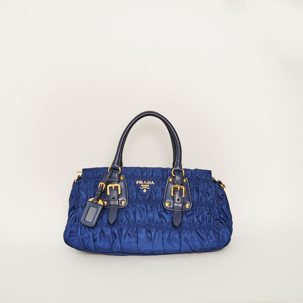 Load image into Gallery viewer, Prada Blue Nylon & Leather Ruched Bag