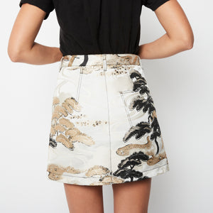 Louis Vuitton Brocade Metallic Skirt Sz 36