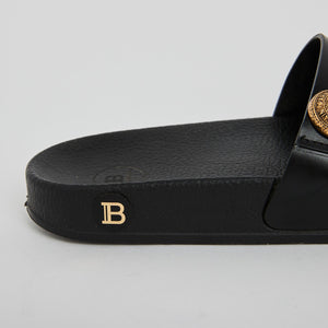 Balmain Black Leather Slides Sz 38