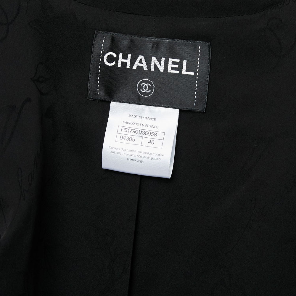 CHANEL Leather Trim Jacket sz 40