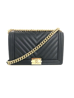 CHANEL Chevron Caviar New Medium Boy Bag