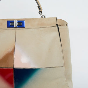 FENDI Airbrushed Suede Peekaboo Top Handle Bag