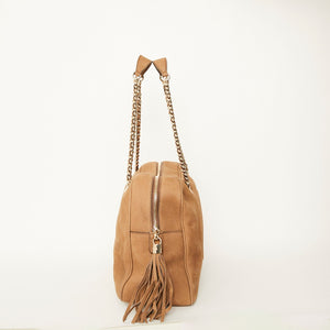 GUCCI  Soho Nubuck Leather Chain Shoulder Bag