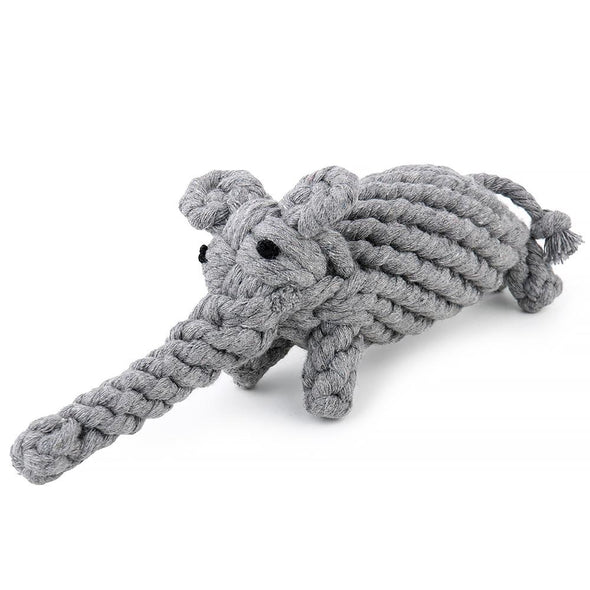 Dog Rope Toy -  Elephant in Yellow or Grey