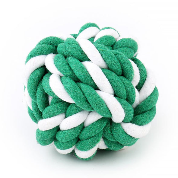 Rope Ball Fetch Toy - Green & White